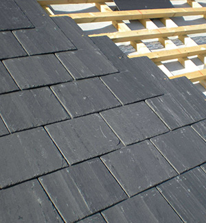 Part way through a slate roof in Northampton